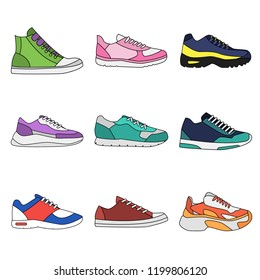 Different types of modern sneakers for everyday wear.