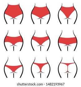 Different types of panties collection for women. Isolated vector illustration
