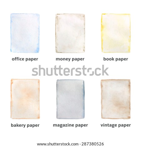 different types paper made watercolor technique stock vector