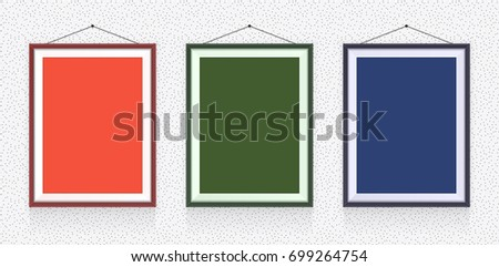 Different Types Photo Frames On Wall Stock Vector Royalty Free