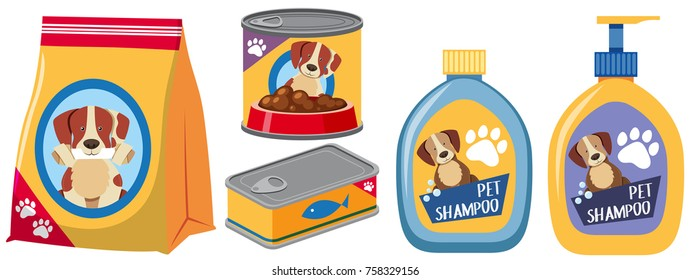 Different types of products for dog illustration