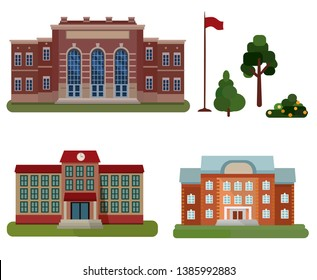 Different types of public buildings, administration, school, library with additional elements-flag, tree,spruce, bush isolated on white background