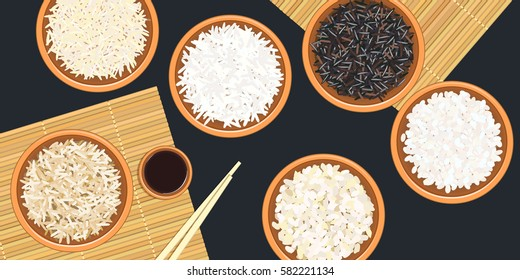 Different types of rice in bowls. Basmati, wild, jasmine, long brown, arborio, sushi. chopsticks. Kitchen bamboo mats, sauce tureen. Vector illustration. top view. For culinary, fastfood, restaurant