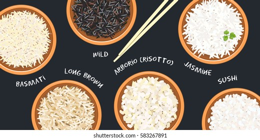 Different types of rice in pots. Basmati, wild, jasmine, long brown, arborio, sushi. chopsticks. Kitchen bamboo mats, sauce tureen. Vector illustration. top view. For culinary, fastfood, restaurant