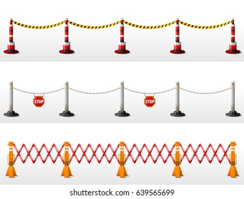 Different types of safety barriers. Crowd control stanchions with tape, bollards with chain, expandable barricade. Best vector illustration for security, protection, enclosure, fencing, etc