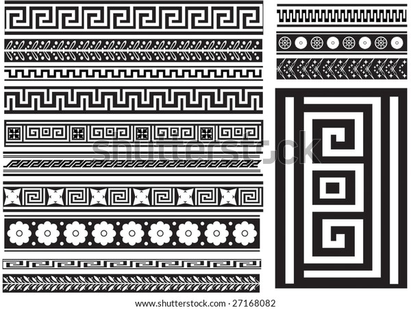 Different Types Seamless Greek Patterns Stock Vector