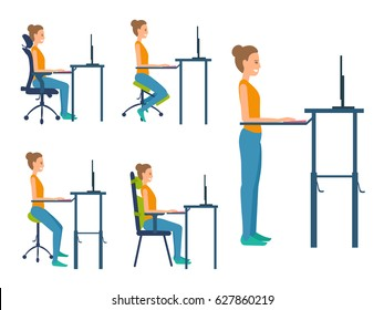 Different types seats. Saddle chair, standing workplace, kneeling chair, chair with orthopedic pillows, adjustable office ergonomic chair. Illustration set about healthy natural posture work sitting.