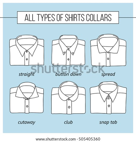 Different Types Shirt Collars Vector Set Stock Vector Royalty Free