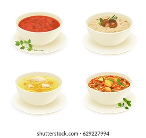 Different types of soup isolated on white background vector