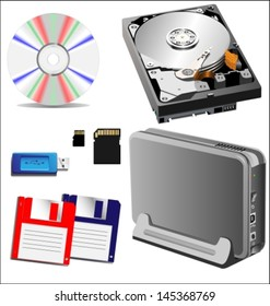 different types of storage devices, external and internal. Vector illustration