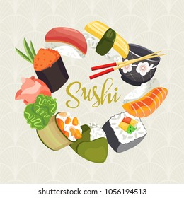 Different types of sushi and rolls as well as a cup for sake and chopsticks drawn in a flat design are arranged in a circle. On the background of the Japanese ornament.