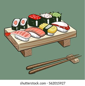 Different types of sushi. Vector stock image