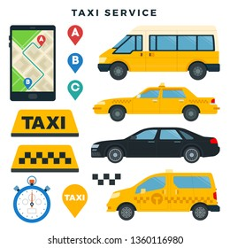 Different types of taxi cars and taxi signs, taxi booking mobile app, set of elements isolated on white. Vector illustration for advertising taxis, banners, posters, infographics.
