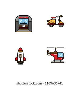 Different  types of transport vehicles. Set icon EPS 10 vector format. Professional pixel perfect color icons optimized for both large and small resolutions. Transparent background.