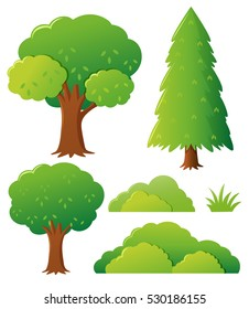 Different types of tree illustration