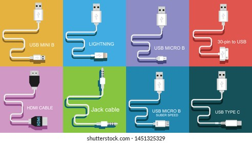 Different types of universal computer cable connectors, cables Type-A, Type-B, Mini-USB, USB Micro B, Micro-USB HDMI, Lightning, 30-pin USB, Jack cable