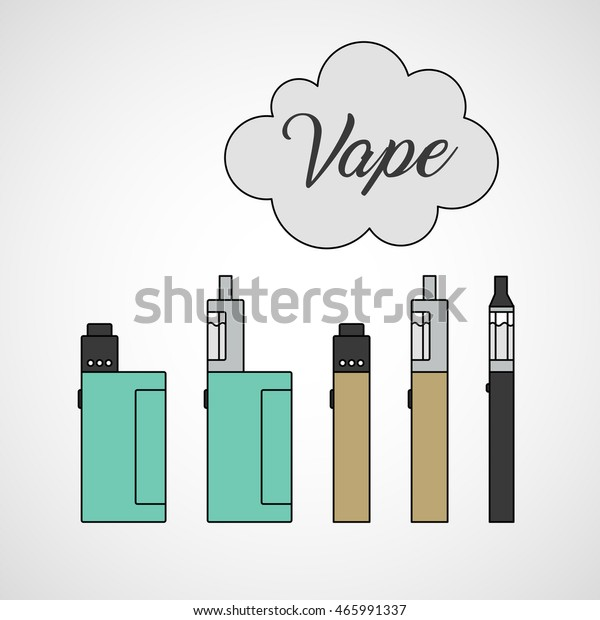 Different Types Vaping Devices Box Mod Stock Vector (Royalty