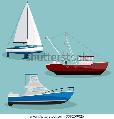 different types vector ships boats image stock vector royalty free