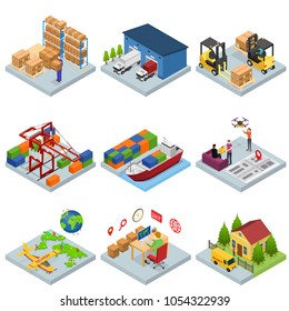 Different Types Warehouse 3d Icons Set Isometric View Logistic Transport, Delivery and Shipping Business Service. Vector illustration of Storage