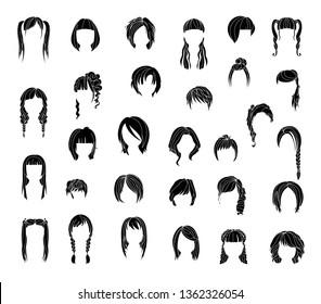 Different types of wigs. Black and white