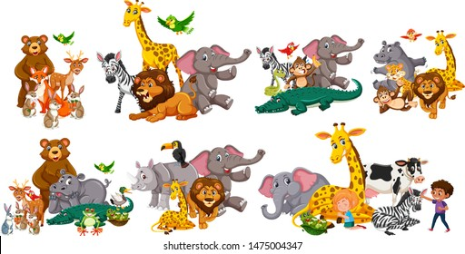 Different types of wild animals in seven sets illustration