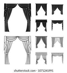 Different types of window curtains.Curtains set collection icons in black,monochrom style vector symbol stock illustration web.