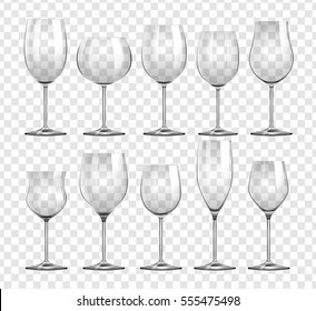 Different types of wine glasses illustration