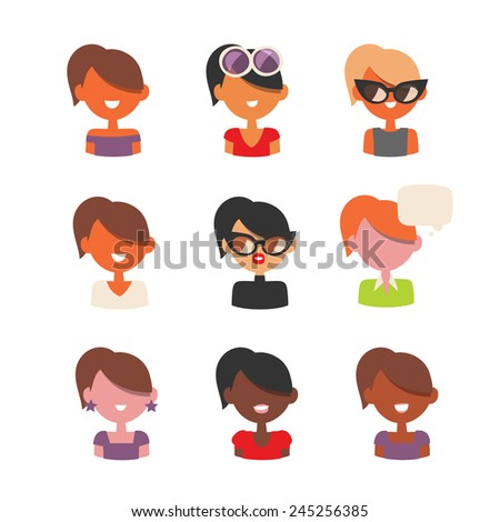 37595e36d47 Different types of women avatar icons set. Young modern and retro ladies  types