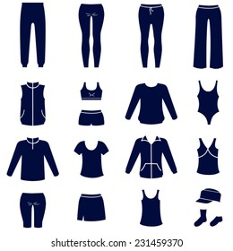 Different types of women sport clothes / Solid fill vector icons set as flat icons