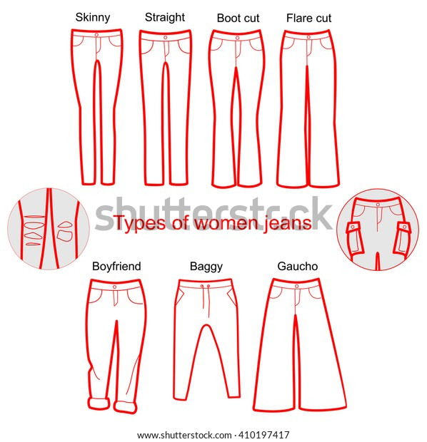 b723b53c Different Types Women Trousers Pants Line Stock Vector (Royalty Free ...