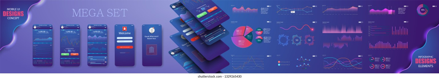 Different UI, UX, GUI mobile screens modern infographic. Diagram template and chart graph. Flat web icons for mobile apps, responsive website including. Web design and mobile template. Stock vector