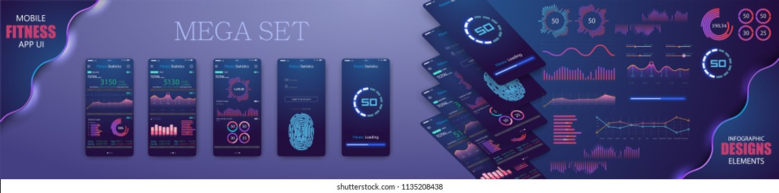 Different UI, UX, GUI screens fitnes app and flat web icons for mobile apps, responsive website including Login, Create Account. - stock vector