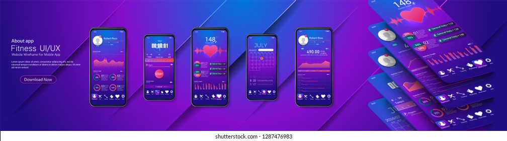 Different UI, UX, GUI screens fitness app and flat web icons for mobile apps, responsive website including. Web design and mobile template. Fitness Dashboard - stock vector