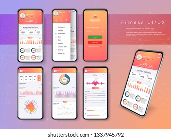 Different UI, UX, GUI screens fitness app and flat web icons for mobile apps, responsive website including.User interface design elements set minimal red yellow color,  ready templates fitness tracker