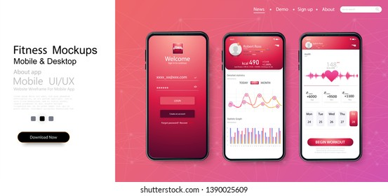Different UI, UX, GUI screens fitness app and flat web icons for mobile apps, responsive website including. Web design and mobile template. Fitness Dashboard. Ready templates fitness tracker. Vector