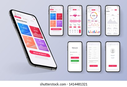 Different UI, UX, GUI screens fitness app and flat web icons for mobile apps, responsive website including. Web design and mobile template. Red trends design. Fitness Dashboard - stock vector
