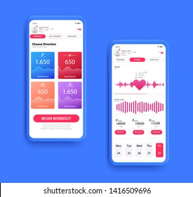 Different UI, UX, GUI screens fitnes app and flat web icons for mobile apps, Fitness application design. Mock up Mobile app. Vector template.