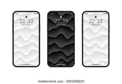 Different Variations Black And White 3D Layered Smooth Structure Wallpapers Set On Photorealistic Smartphone Screen Isolated On White Background. Set Of Vertical Abstract Backgrounds For Smartphone