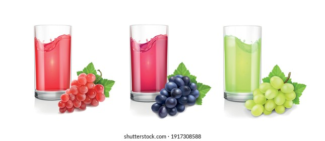 Different varieties of grapes and drinking glasses of wine or juice on white background. Red, black green pink muscatel grape banches 3d vector set.