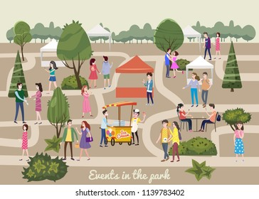 Different various people at park characters, men and women in the park, on vacation, events walk, meet, buy, communicate among themselves, vector, banner, illustration, isolated, cartoon style