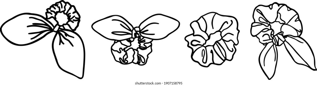 Different vector with blub brush tool drawn scrunchie accessories without background. Vsco Girl Trend.