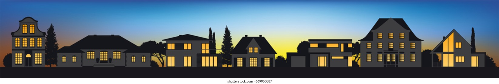 different vector house pictograms in a row in sunset