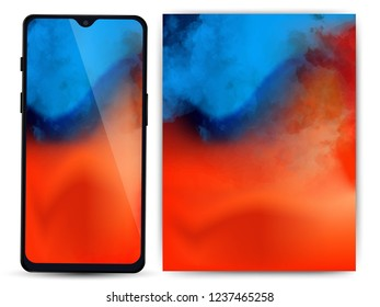 Different vector smartphone display set with notches and colorful abstract vector mesh wallpaper. Mobile realistic mockup with front camera and speaker