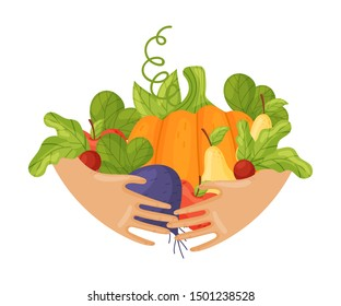 A lot of different vegetables and fruits in the hands. Vector illustration on a white background.