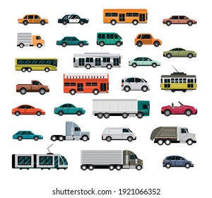different vehicles, city transport, automobile service, side view cars vector illustration