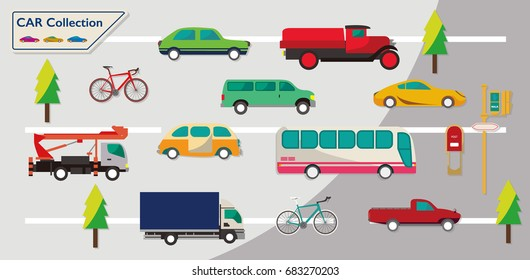 Different vehicles on the road