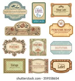 Different vintage art nouveau lables.