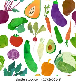 Different vivid vegetables. Seamless pattern. Watercolour imitation.