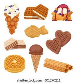 Different waffle cookies on white background waffle cakes and chocolate delicious snack cream dessert wafer bakery food vector illustration.