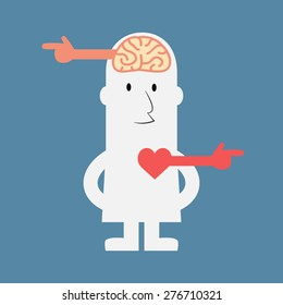 Different way of brain and heart - Vector